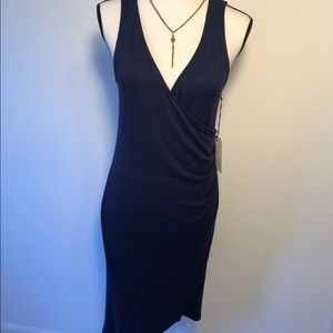NWT LEITH sexy navy ruched wrap sleeveless dress